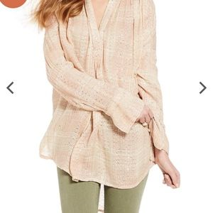 Free People Fearless Love Pullover Gauzy Plaid